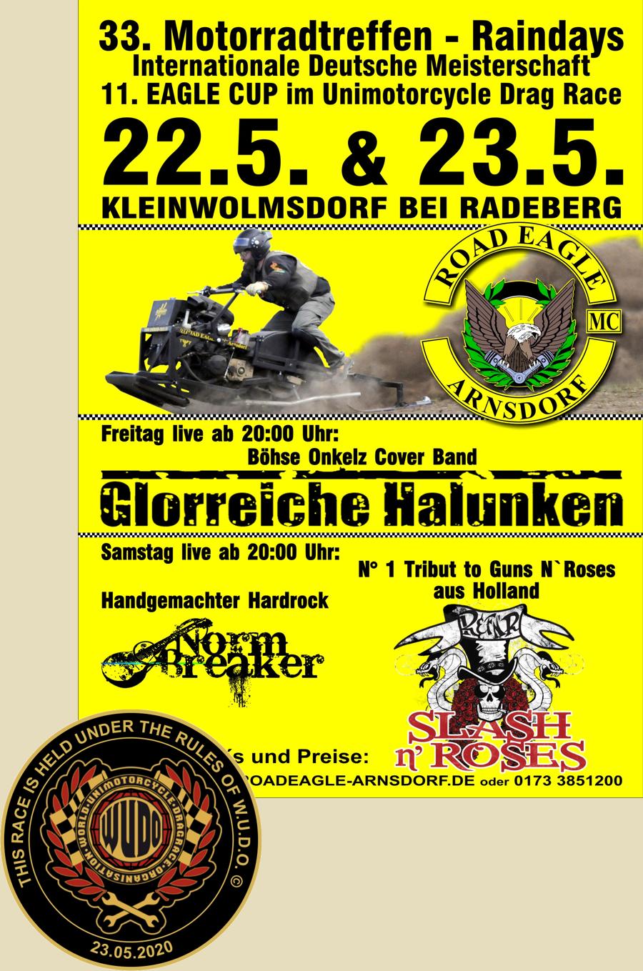 Internationale Deutsche Meisterschaft im Unimotorcycle Dragrace beim 11. Eagle Cup des Road Eagle MC Arnsdorf