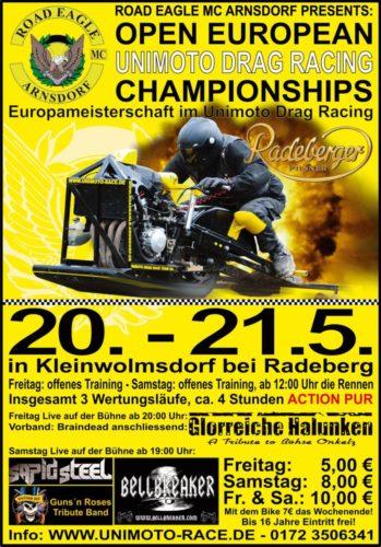 Offene Europäische Meisterschaft im Unimoto Drag Race und 3. Eagle Cup 2011