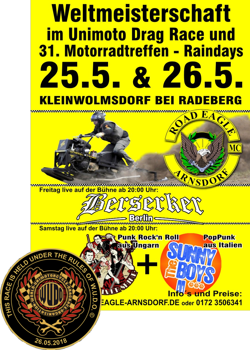 Weltmeisterschaft im Unimoto / Unimotorcycle Drag Race beim ROAD EAGLE MC Arnsdorf 2018